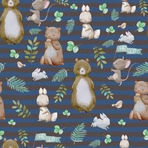 """8"""" Hello Forest Animals - Dark Blue & Tan Stripes"""