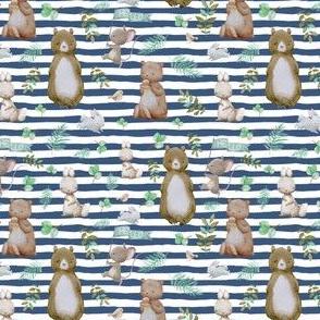 """4"""" Hello Forest Animals - Dark Blue Stripes"""