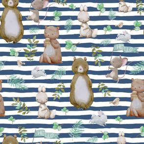 """36"""" Hello Forest Animals - Dark Blue Stripes"""
