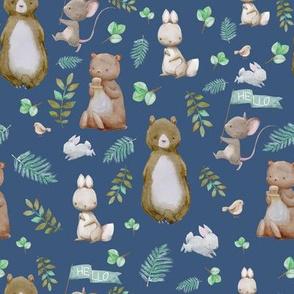 """8"""" Hello Forest Animals - Dark Blue"""