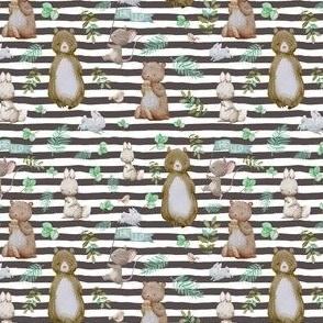 """4"""" Hello Forest Animals - Dark Tan Stripes"""
