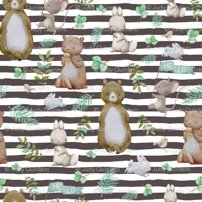 "8"" Hello Forest Animals - Dark Tan Stripes"