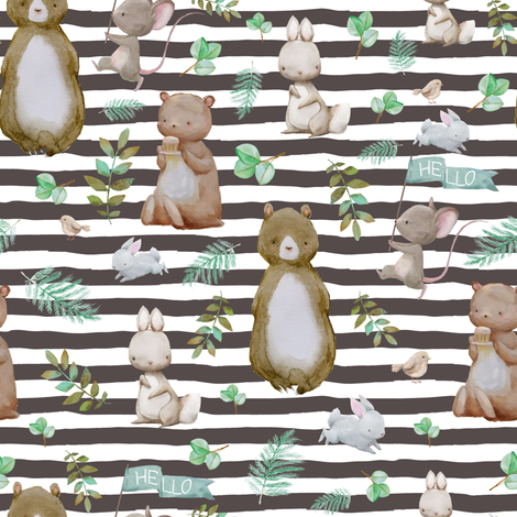 "8"" Hello Forest Animals - Dark Tan Stripes fabric by shopcabin on Spoonflower - custom fabric"