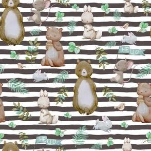 """8"""" Hello Forest Animals - Dark Tan Stripes"""
