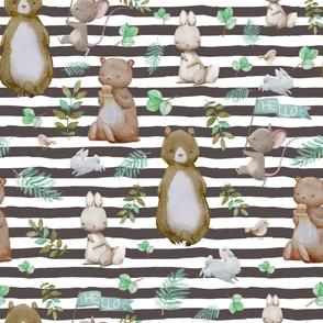"""36"""" Hello Forest Animals - Dark Tan Stripes"""