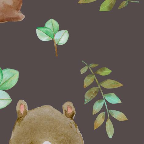 "36"" Hello Forest Animals - Dark Tan fabric by shopcabin on Spoonflower - custom fabric"