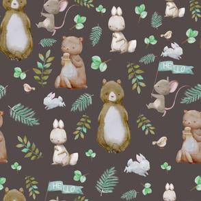 """36"""" Hello Forest Animals - Dark Tan"""