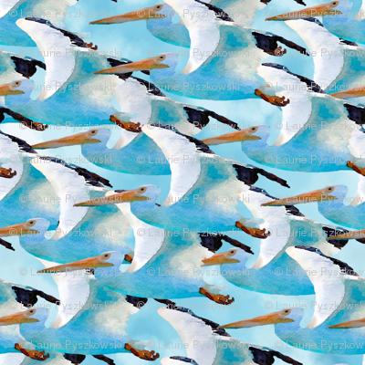School of Pelicans in Watercolor