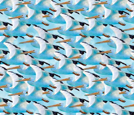 School of Pelicans in Watercolor fabric by lauriekentdesigns on Spoonflower - custom fabric