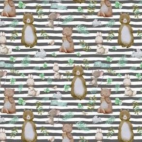 """4"""" Hello Forest Animals - Dark Grey Stripes"""