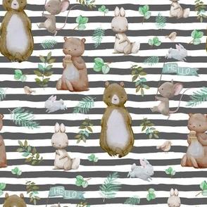 """8"""" Hello Forest Animals - Dark Grey Stripes"""