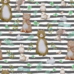 """36"""" Hello Forest Animals - Dark Grey Stripes"""