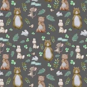 """4"""" Hello Forest Animals - Dark Grey"""