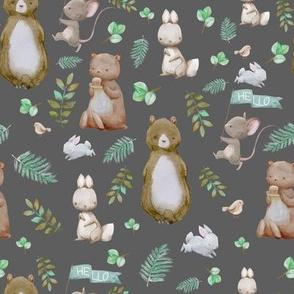 """8"""" Hello Forest Animals - Dark Grey"""