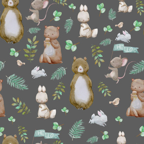 """36"""" Hello Forest Animals - Dark Grey"""
