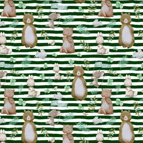 "4"" Hello Forest Animals - Hunter Green Stripes"