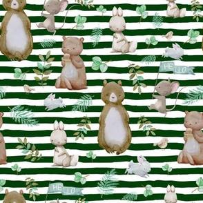 "8"" Hello Forest Animals - Hunter Green Stripes"
