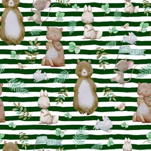 "36"" Hello Forest Animals - Hunter Green Stripes"
