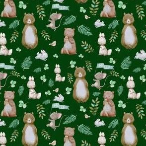 "4"" Hello Forest Animals - Hunter Green"