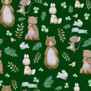"36"" Hello Forest Animals - Hunter Green"