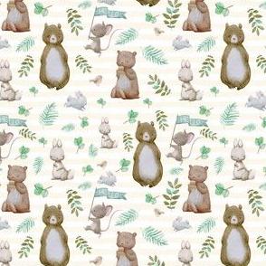 "4"" Hello Forest Animals - Ivory Stripes"