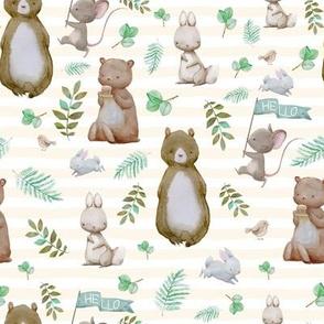 "8"" Hello Forest Animals - Ivory Stripes"