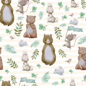 "36"" Hello Forest Animals - Ivory Stripes"