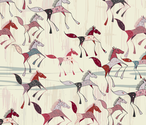 American-Prairie---Saltbox-Horses_5ia_17012018_3600 fabric by julesjac964 on Spoonflower - custom fabric