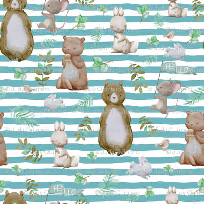 "4"" Hello Forest Animals - Muted Aqua Stripes"