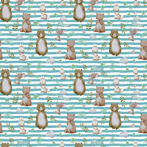 "4"" Hello Forest Animals - Muted Aqua Stripes fabric by shopcabin on Spoonflower - custom fabric"
