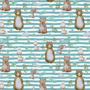 "4"" Hello Forest Animals - Muted Aqua Stripes"