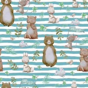 "8"" Hello Forest Animals - Muted Aqua Stripes"