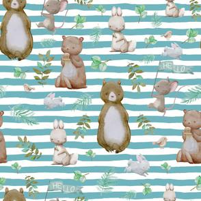 "36"" Hello Forest Animals - Muted Aqua Stripes"
