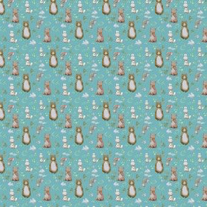 "1.5"" Hello Forest Animals - Muted Aqua"
