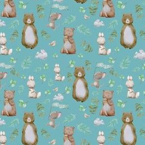 "4"" Hello Forest Animals - Muted Aqua"