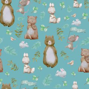 "36"" Hello Forest Animals - Muted Aqua"