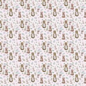 "1.5"" Hello Forest Animals - Pink Stripes"