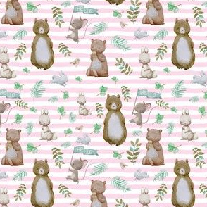 "4"" Hello Forest Animals - Pink Stripes"