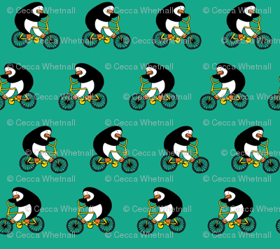 Penguins on bikes - Emerald