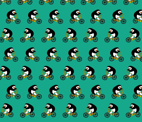 Penguins on bikes - Emerald fabric by cecca on Spoonflower - custom fabric