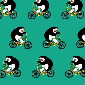 Penguins on bikes - Emerald