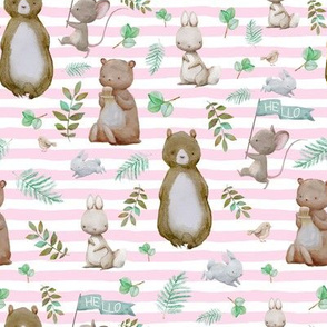 "8"" Hello Forest Animals - Pink Stripes"