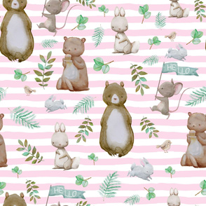 "36"" Hello Forest Animals - Pink Stripes"