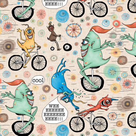cycling cyclops or cyclops cycling, large scale fabric by amy_g on Spoonflower - custom fabric