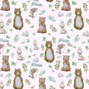 """4"""" Hello Forest Animals - Pink"""