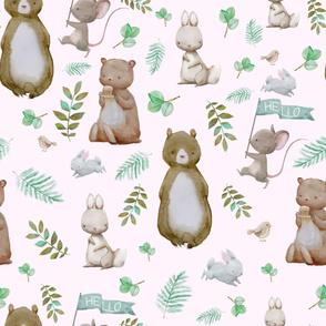 """36"""" Hello Forest Animals - Pink"""