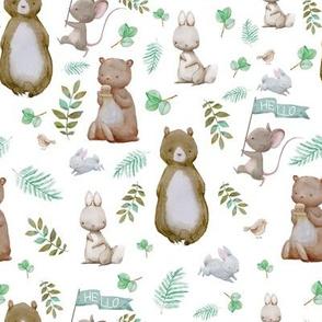 """8"""" Hello Forest Animals - White"""