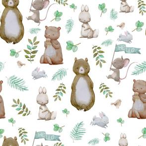 """36"""" Hello Forest Animals - White"""