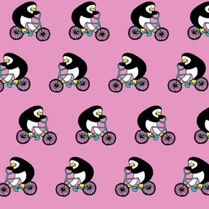 Penguins on bikes - Sugar Mouse Pink