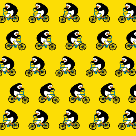 Penguins on bikes - Yellow fabric by cecca on Spoonflower - custom fabric